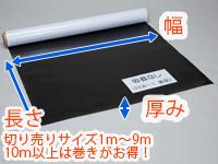 幅、長さ、厚み等サイズ詳細です。切り売りサイズは1m~9mの1m毎になります。10mまとめて買えばとってもお得です