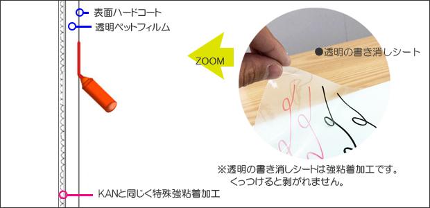 透明の書き消しシート断面図
