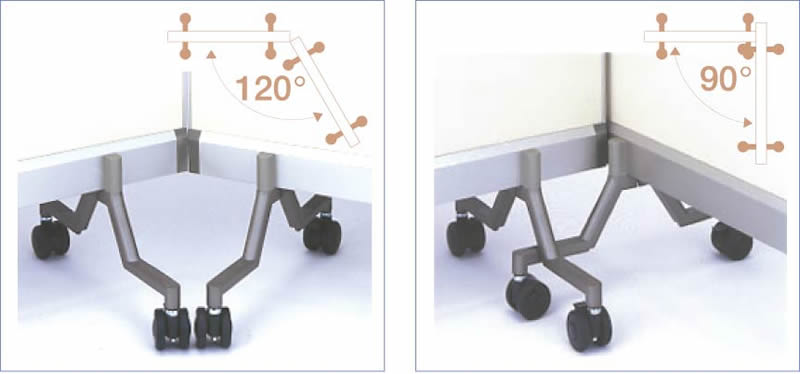 パーテーション型ホワイトボード(両面)120度で並べて配置 90度で並べて配置