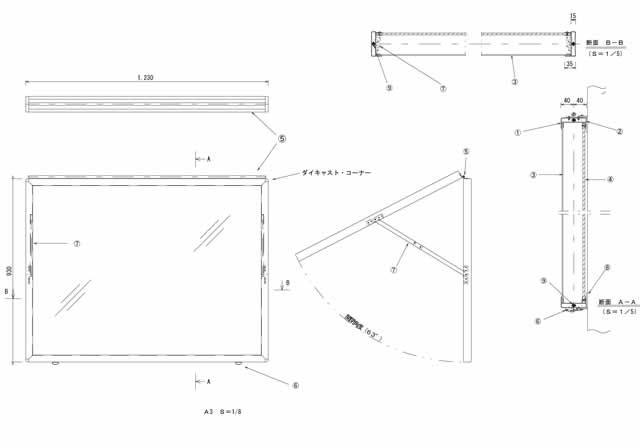 図面|屋内用フロントオープン型掲示板