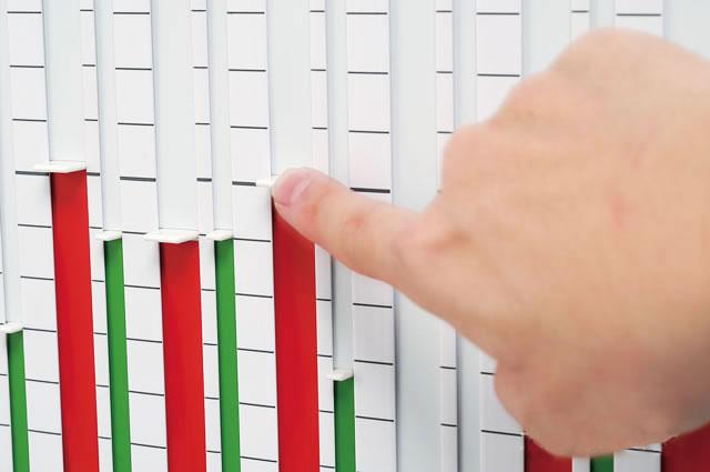 グラフ表示ボード棒線グラフ:つまみに棒線テープ
