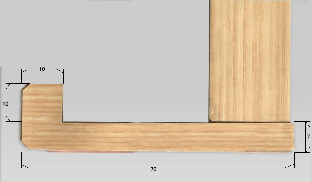 木目枠ホワイトボード製品断面画像下部