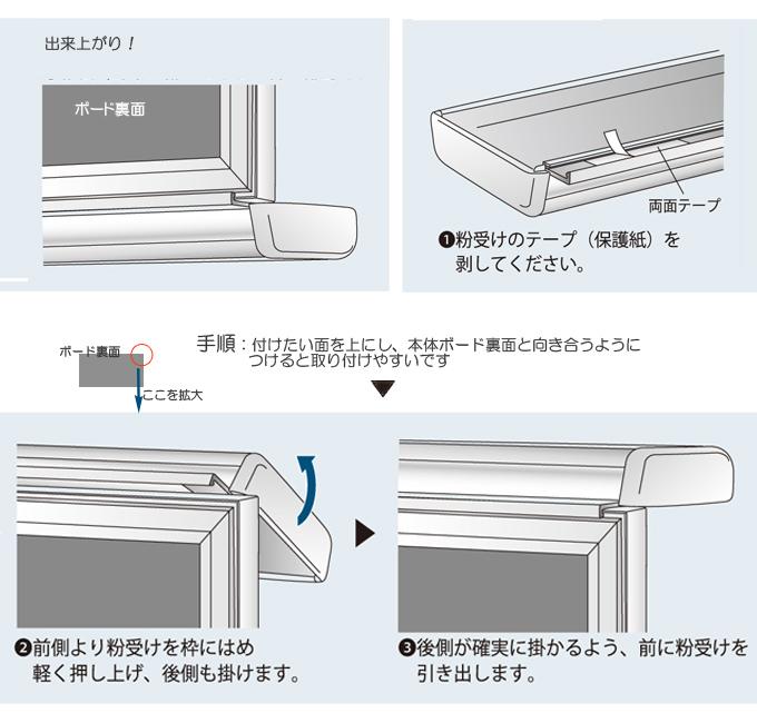 壁に馴染むホワイト枠ホーローホワイトボード粉受けも簡単に取り付けることができます