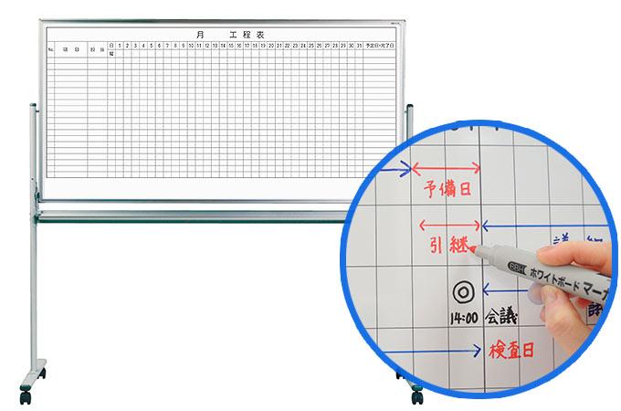事務所や工場で大活躍。丈夫な板面で長期間くっきりのレーザー罫線を印刷したニッケルホーローの工程表